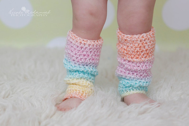 PATTERN:  Toddler & Baby Leg Warmers 4 sizes Slouchy Easy image 0
