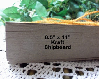 "Kraft Card Stock, Kraft Chipboard, 100 Count 8-1/2"" x 11"" Kraft Chipboard, Paperboard, Kraft Journal Pages, Stamping, Crafts, Letterpress"