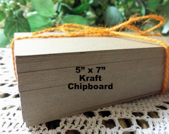 "Kraft Card Stock, Kraft Chipboard, 100 Count 5"" x 7"" Kraft Chipboard, Paperboard, Kraft Journal Pages, Stamping, Crafts, Letterpress"