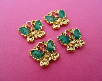 Half price sale! 4 x vintage style butterfly charm