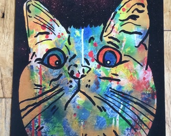 Cosmic Moggy Print by Barrie J Davies 2015