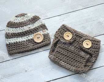 Baby boy hat, newborn boy hat, hat and diaper cover set, baby boy outfit, newborn photo prop, baby boy, newborn boy, photo outfit