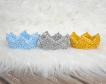 Baby boy crown, newborn baby crown, newborn boy photo prop, prince crown, newborn crown, newborn boy, baby boy, crochet crown