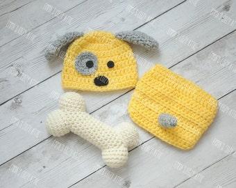 Cachorro recién nacido sombrero bebé niño perrito crochet el  ea337befb6e