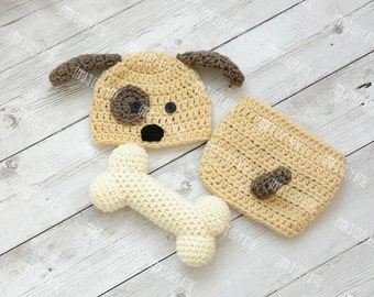Puppy hat and diaper cover, newborn baby puppy hat, puppy hat set, puppy hat set, newborn puppy outfit, newborn photo outfit, baby hat