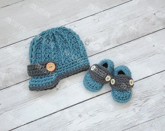 Crochet newsboy hat, newsboy hat and shoes, baby loafers, newborn booties, newsboy outfit, newborn boy hat, baby boy hat, newborn photo prop