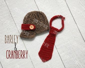 Baby Newsboy hat and necktie, Newborn newsboy hat set, crochet necktie, coming home ouftit, newborn boy photo prop, infant boy hat, brown