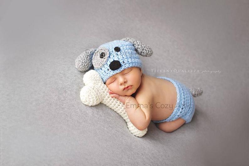 e4ebb9d705b Newborn puppy hat baby boy puppy hat crochet puppy hat