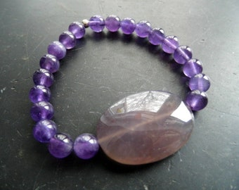 Bracelet, Amethyst, Amethyst Disc, Purple, Jewelry, Women, Men, Unisex