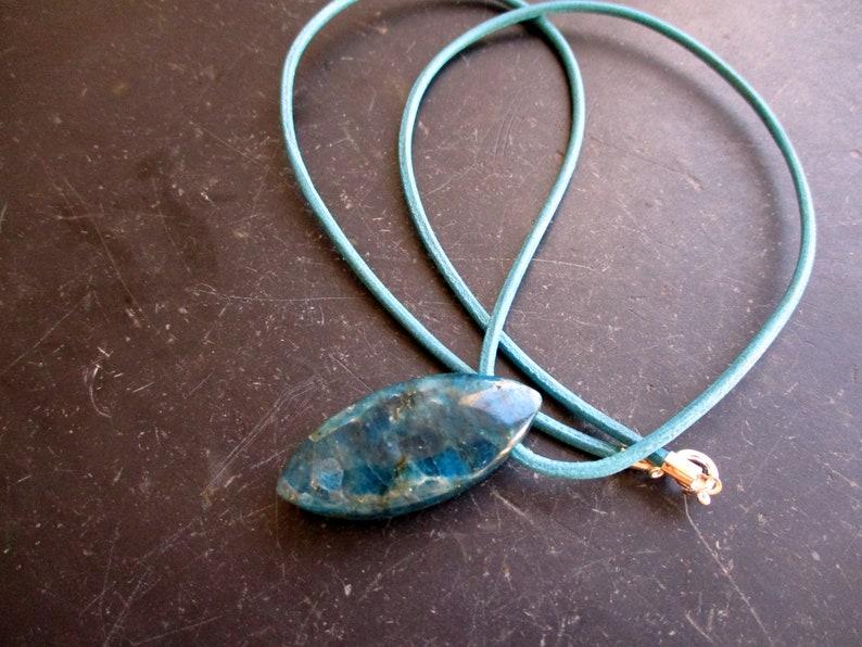 Pendant Blue Men Navette Leather Strap Jewelry Apatite Women