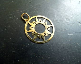 Pendant, sterling silver, gold plated, sun, filigree, large, joy, jewelry