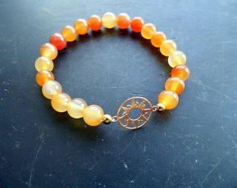 Bracelet, symbol bracelet, moonstone bracelet, moonstone bracelet, sun, silver, gold plated, orange