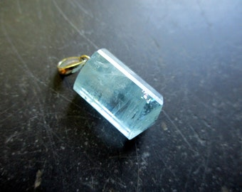 Pendant, sterling silver, aquamarine, natural, blue, clear, jewelry, unisex