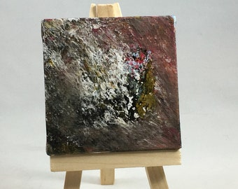 """Original Mini Painting with Easel: Abstract """"Minnesota Agate Painting""""; 2.75"""" Square Canvas; Neutral Colors"""