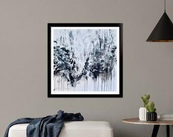 Abstract Painting / Original Painting Medium / Black and White Painting / Acrylic / 18x18 / Square Painting Medium / Dark Art / Canvas