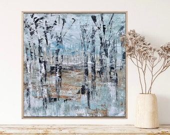 Abstract Landscape / Canvas Painting / Birch Trees / Neutral / 18x18 / Square Canvas Painting / Nature / Minnesota / Acrylic / Palette Knife