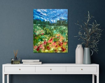 Original Painting / 16x20 / Canvas / Palette Knife Painting / Acrylic / Abstract Flowers / Landscape Painting / Decor / Wall Art / Original