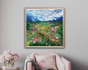 Original Painting / 30x30 / Palette Knife Landscape / Abstract Landscape / Handmade / USA / Acrylic Painting / Abstract Flowers / Wall Art