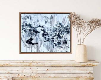 Abstract Painting / Original Art / Medium / 16x20 / Intuitive / Black and White / Palette Knife / Acrylic Paint / Scary / Halloween / Decor
