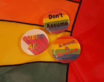 Set of Three Gay Pride Buttons