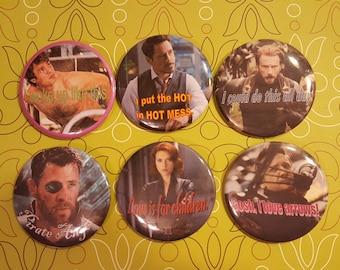 Original MCU Avengers Button Set of Six