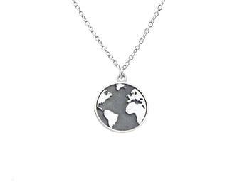 BOULE du monde noir fait à la main en argent sterling collier