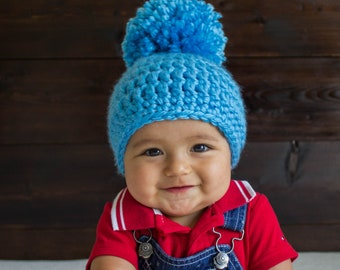 9b1caf19c253 Baby Hats Blue Pom Pom Hat Chunky Beanie Gifts for kids