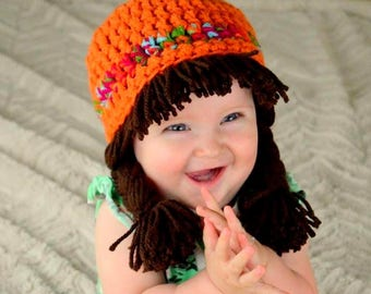 8e94e85c5f7 Cabbage Patch Wig Halloween Costume for Kids Hippie Clothes toddler Hat