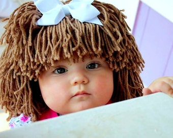 Cabbage Patch-Inspired Baby Hat Winter Beanie Photo Prop Baby Girls Fashion Hair Wig Baby Costume Winter Fashion Gift Ideas