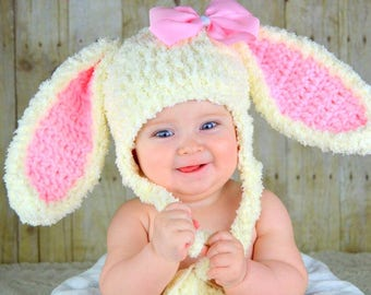 Bunny Hat Easter Bunny Hat Baby Bunny Ears Beanie Pink Rabbit Hats 66acd7a0904b