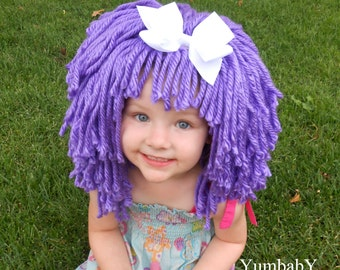 purple wig halloween costume for girls toddler costumes hats for kids lalaloopsy inspired wig purple sc 1 st etsy