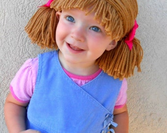 Cabbage Patch Wig Brown Pigtail Baby Hat 17fac6f7bf2