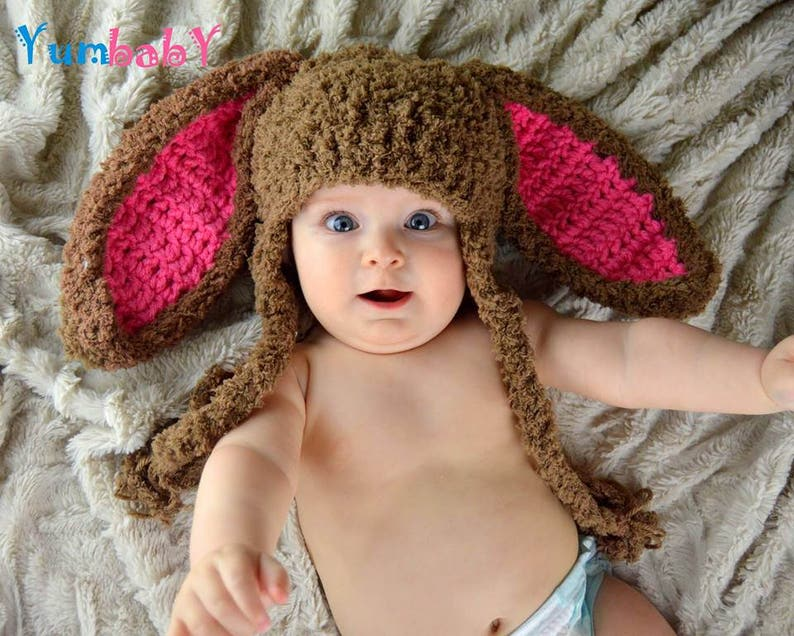Orejas de conejito de Pascua gorro bebé sombrero conejo marrón  c45bf758d68