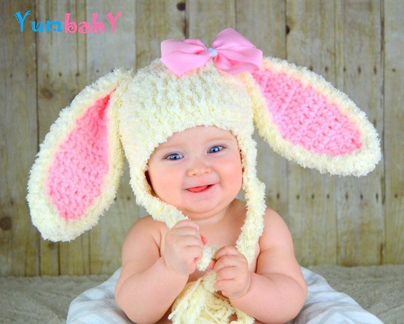 Bunny Hat Easter Bunny Hat Baby Bunny Ears Beanie Pink Rabbit image 0