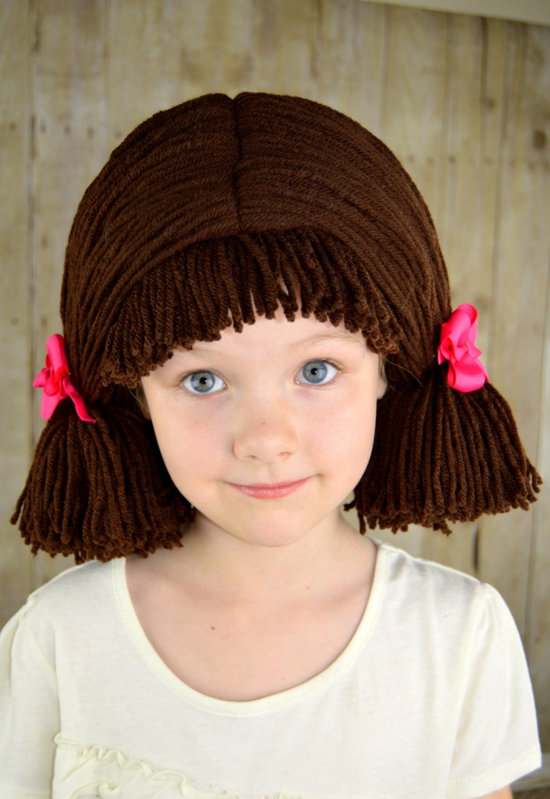 02f0a1d1652 Cabbage Patch Wig Chocolate Brown Pigtail Baby Hat