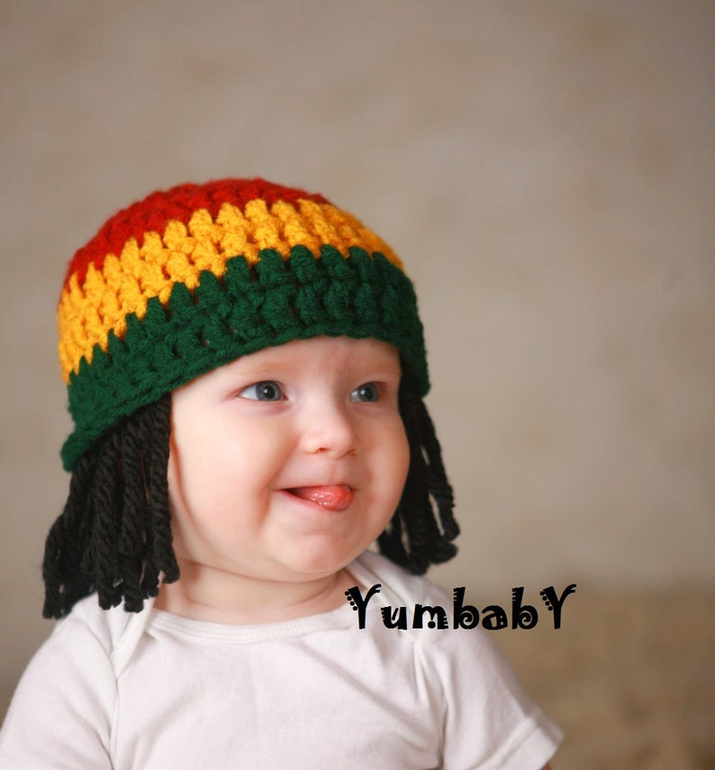 b3d3a550111f Baby Hats Rasta Beanie Baby Wig Photo Props Toddler Costume