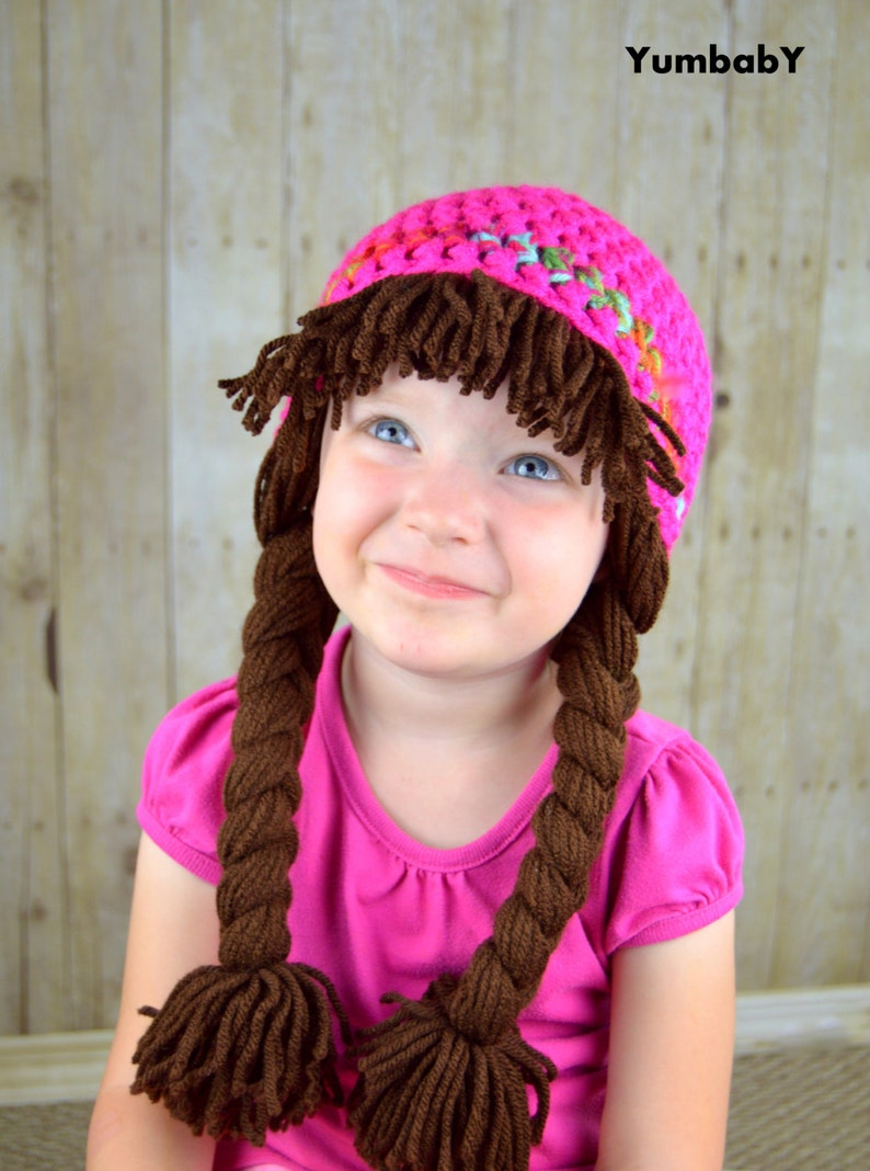 149c47ac227 Cabbage Patch Hat Pigtail WIg Costume Photo Props Halloween
