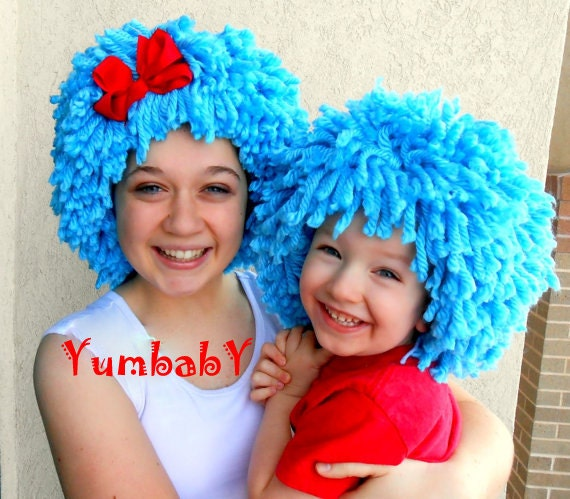 Halloween Costume Thing 1 Thing 2 Inspired Wigs Blue Wig Etsy