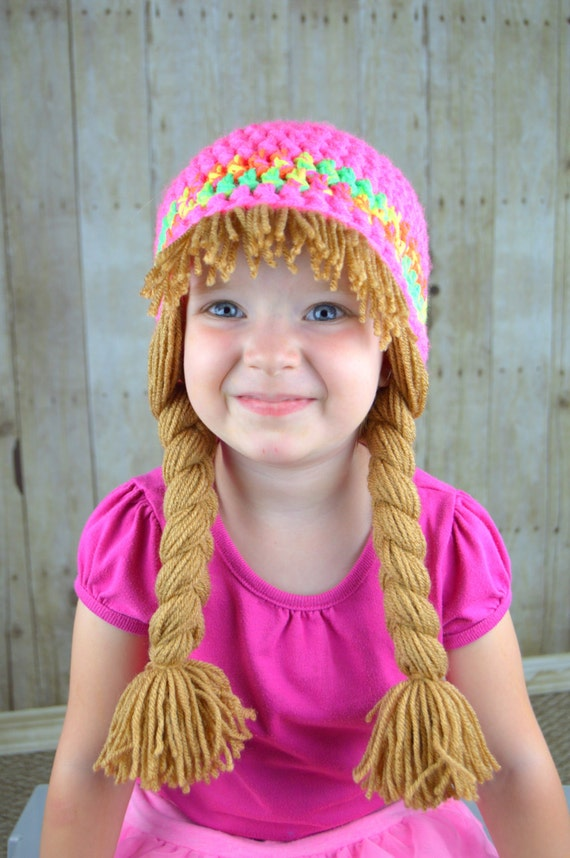 Baby Hats Cabbage Patch Wig Gift for girls Cute Winter Hat or  ded9cd24dbc