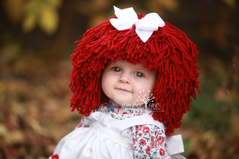 Raggedy Ann Wig Yarn Hat Available in all sizes image 0