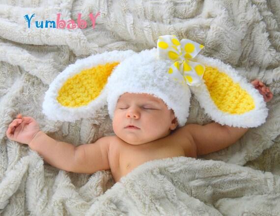 Conejo blanco gorro de orejas mullidas conejito Pascua airer  a30938ab830