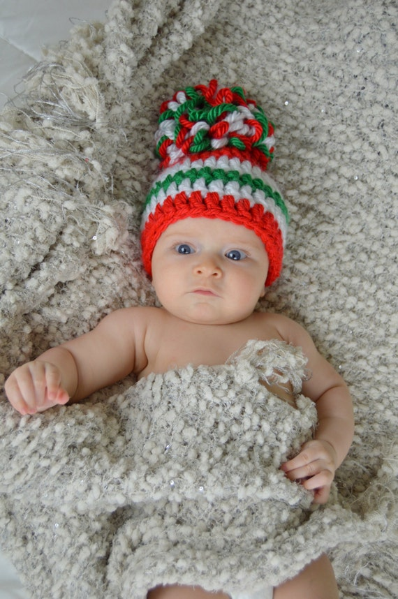f58109309f3 Christmas Hat Red White and Green Striped Christmas Pom Pom