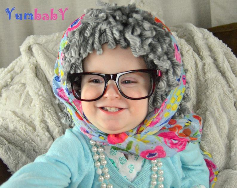 Granny Hat Yarn Wig Old Lady Wig Babushka Halloween Costume Grandma Yarn Hat