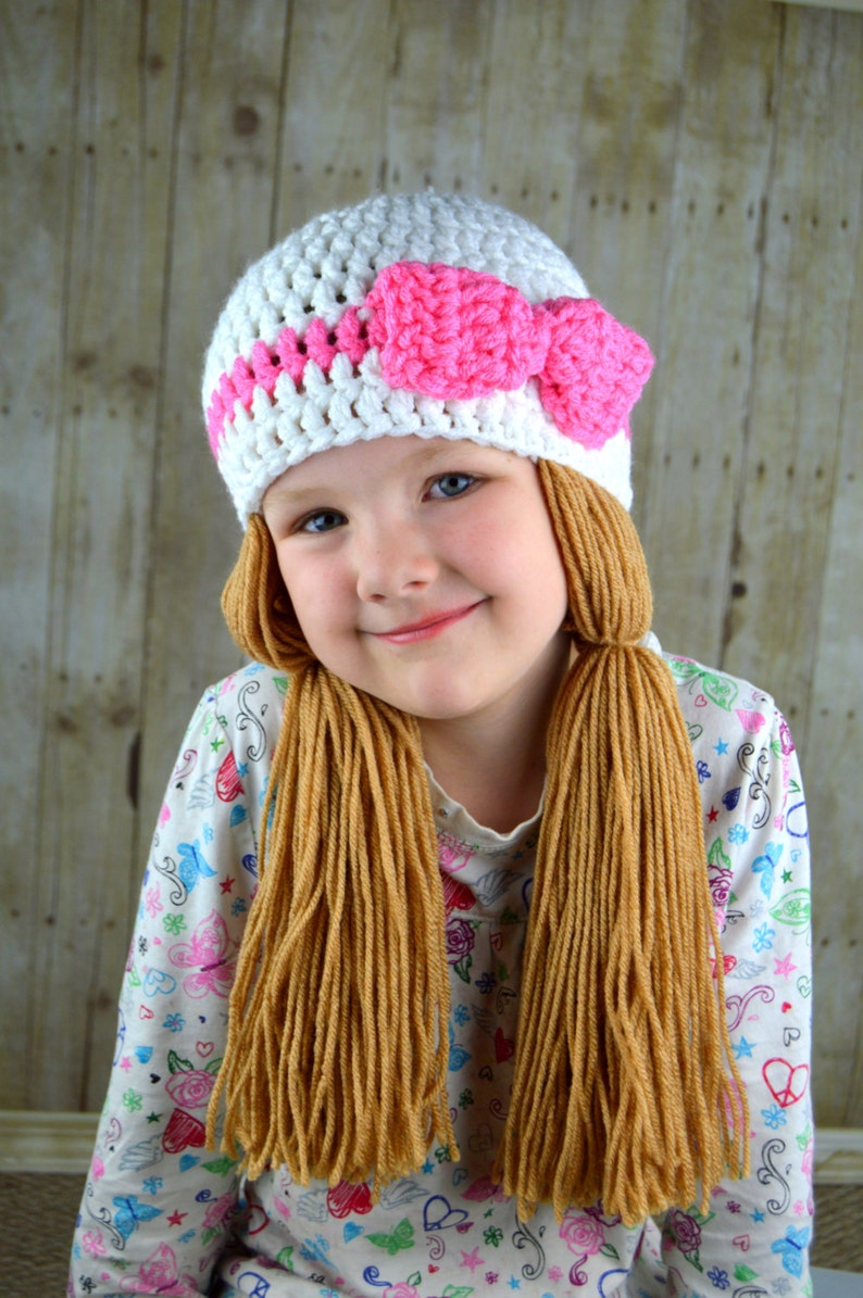 f51addf2e02 White and Pink Pigtail Beanie Cabbage Patch Hat Crocheted