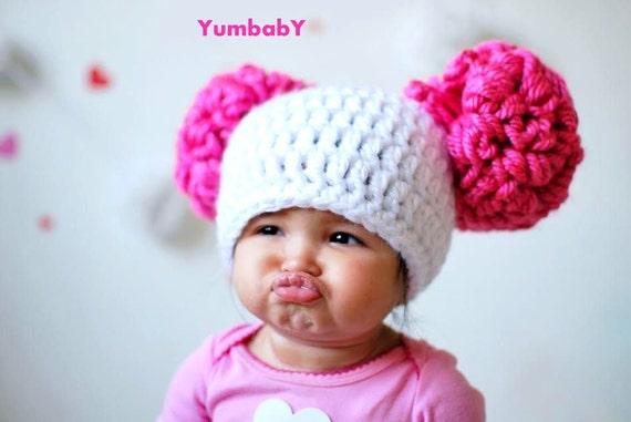 Pom Pom Hat Baby girl pom pom hats pink and white pom poms  5fb5ceb779e