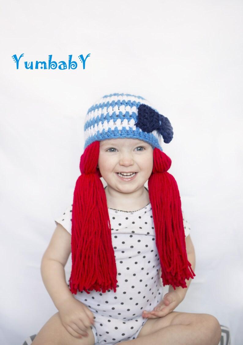 9c1a941cbba Raggedy Ann Wig Pigtail Hat Redhead Sailor Hat Halloween