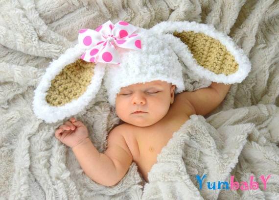 Blanco Pascua conejito sombrero mullido Bunny orejas gorro  5240566609d