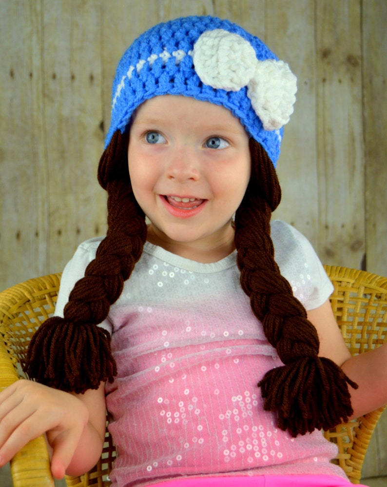 Dorothy Wizard of Oz Baby Hat Cabbage Patch Hat Blue Winter  89429ce627f9