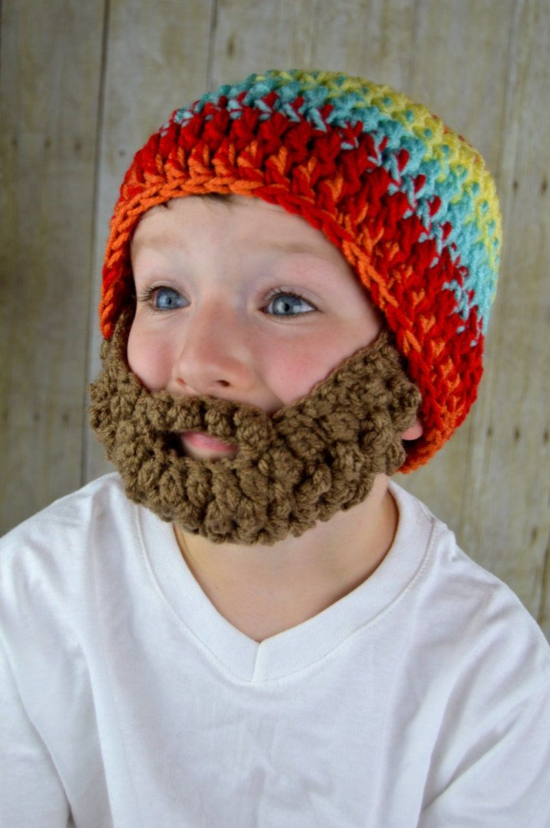 34f10935 Beard Hat- Bearded Beanie Hat for Boys Colorful