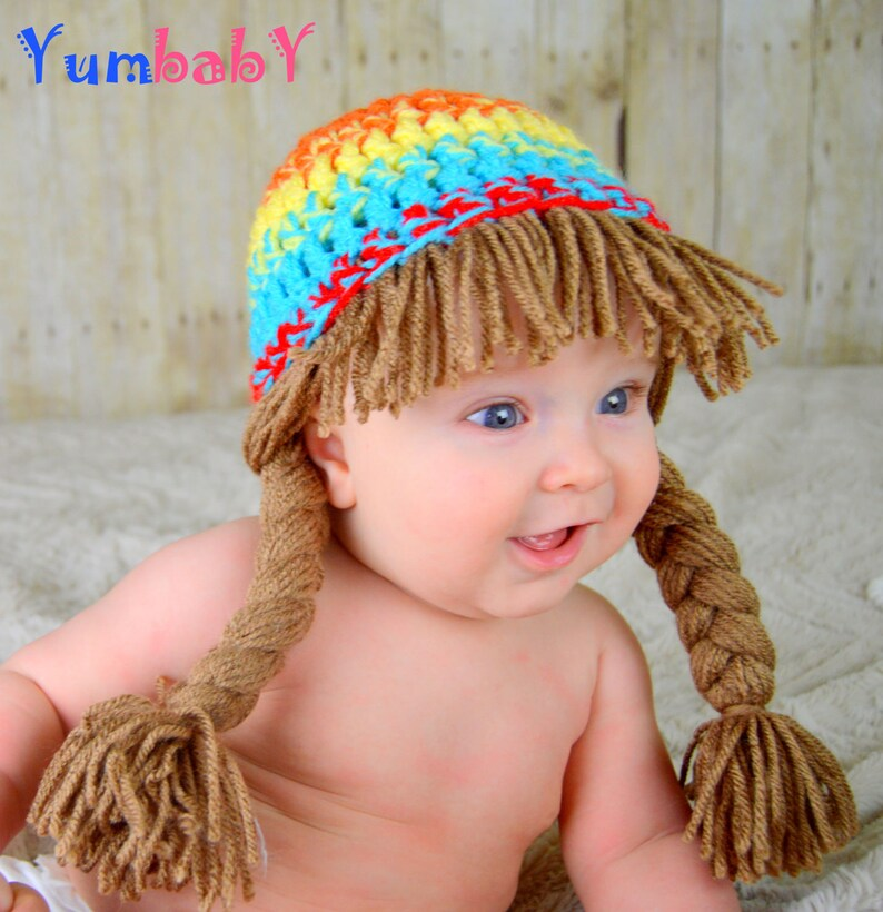 48f24aacf7f Cabbage patch Hat Pigtail Wig Colorful Photo Prop for Girls